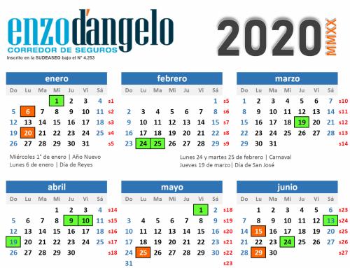 Calendario 2020 (versión digital y para imprimir)